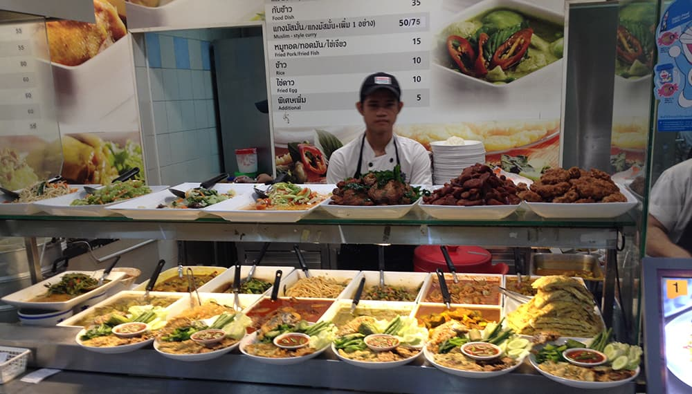 nomadic mick bangkok on a budget on nut shopping mall foodcourt food display